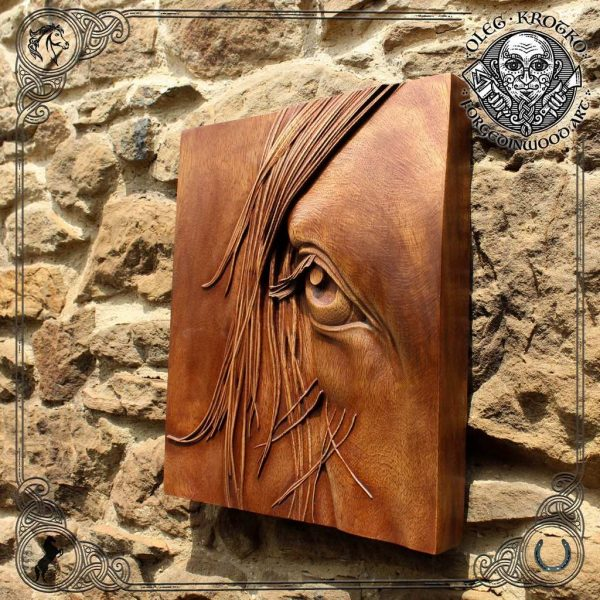 Luxury carved wooden horse portrait