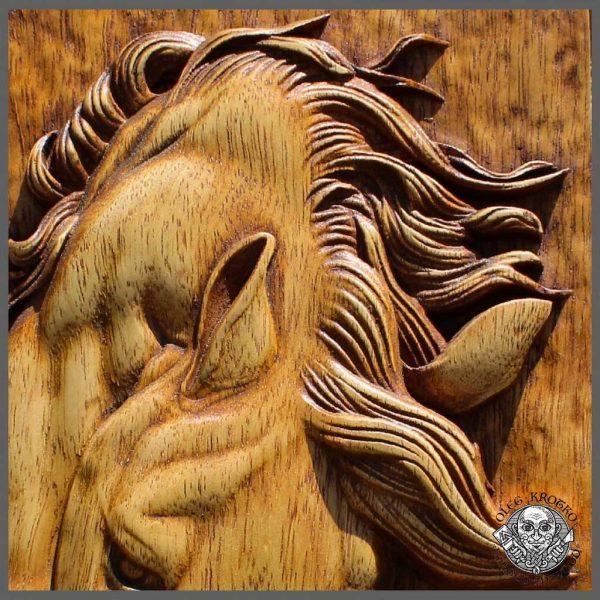 horse carvings wall art