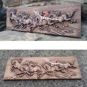 Horses wall art rustic clock