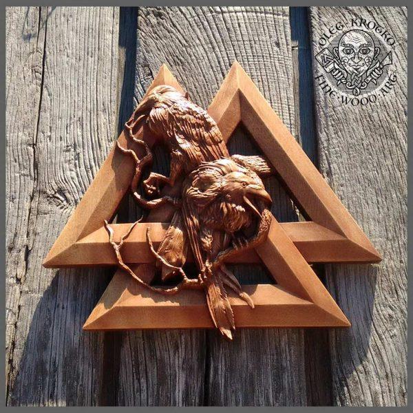 odin ravens and VALKNUT carving