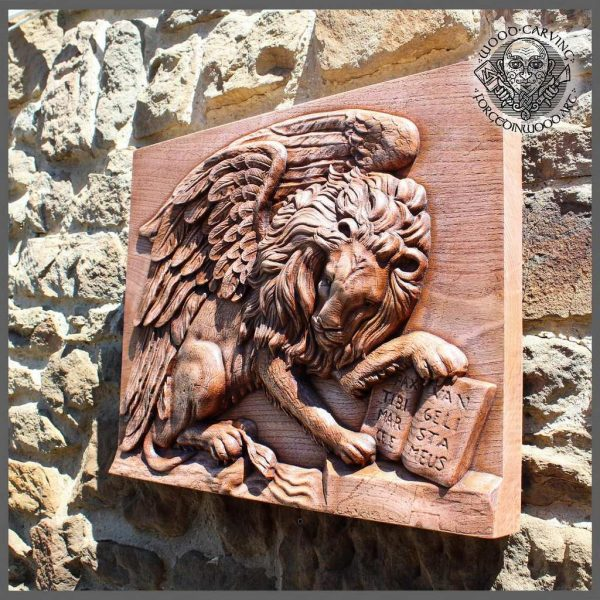 Lion Sculpture carved wood wall Hanging