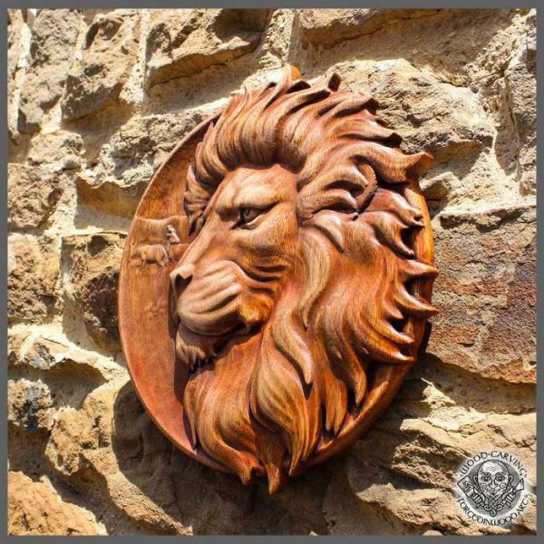 Lion Wood Carving Wall decor
