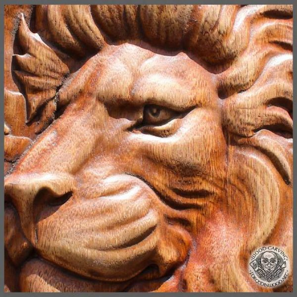 Lion Wood Carving Wall Hanging