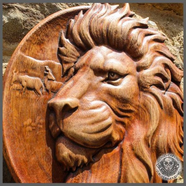 lion head carving for sale