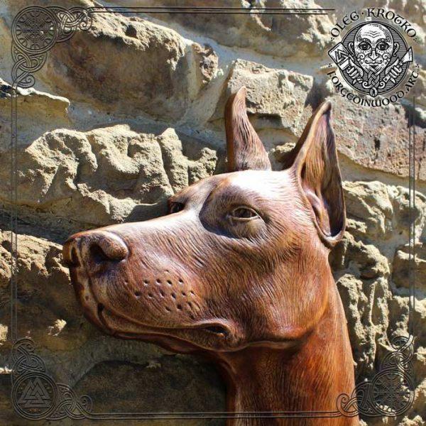 custom dog wood carving