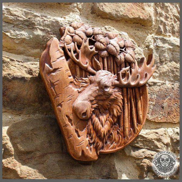 Moose Elk Animal wood carving