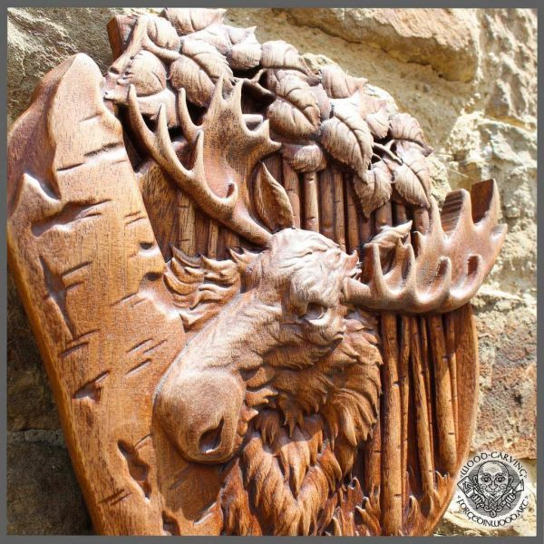 Moose Animal wood carving