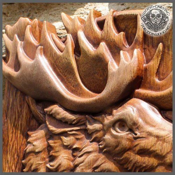 carved wood moose