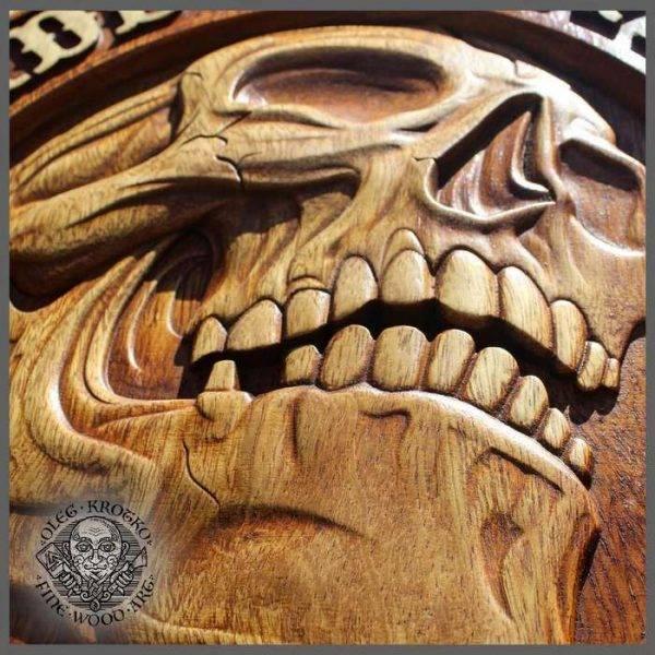 Motorcycle biker wood carving