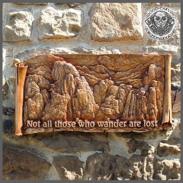 mountain wooden plaque