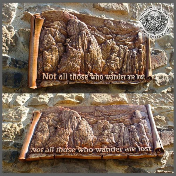 Carved wood mountain Wall Hanging