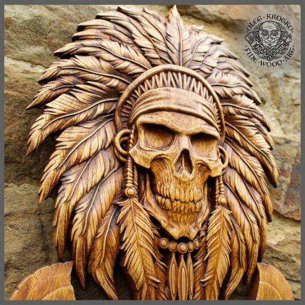 NATIVE AMERICAN INDIAN SKULL ART WOOD