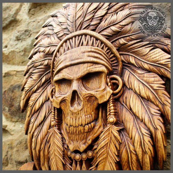 indian skull carvings wall art