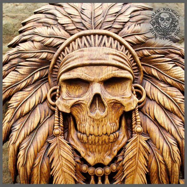 skull wood carvings