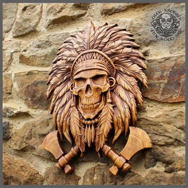 NATIVE AMERICAN INDIAN SKULL WOOD CARVING