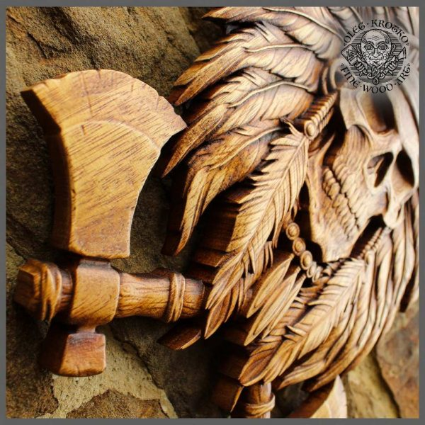 Native American SKull wood carvings