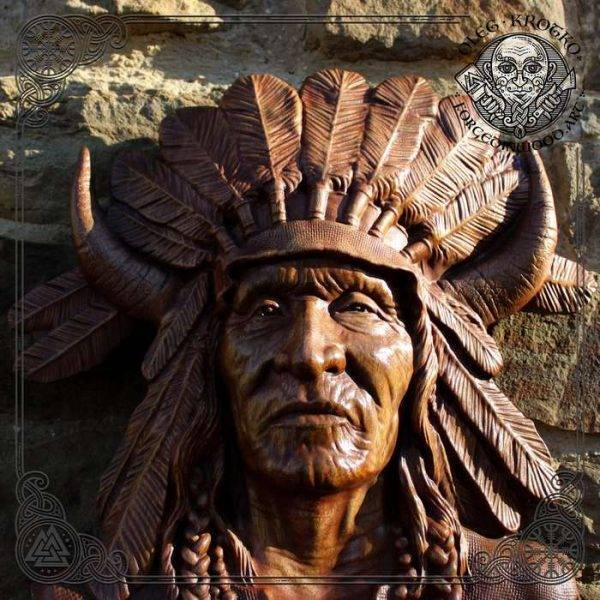 Native american warrior wood carving