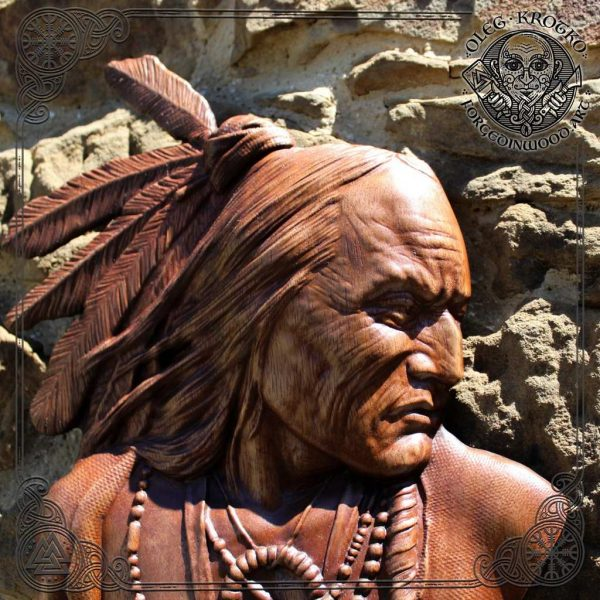 Wood carved Native American Indian