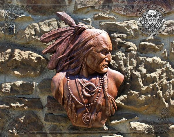 Native american warrior hand carved