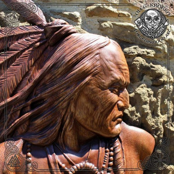 NATIVE AMERICAN wood sculpture wall hanging