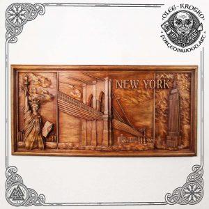 new york wooden rustic plaque