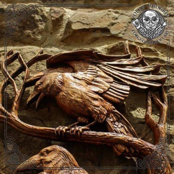 Norse Mythology HUGIN and MUNIN carving