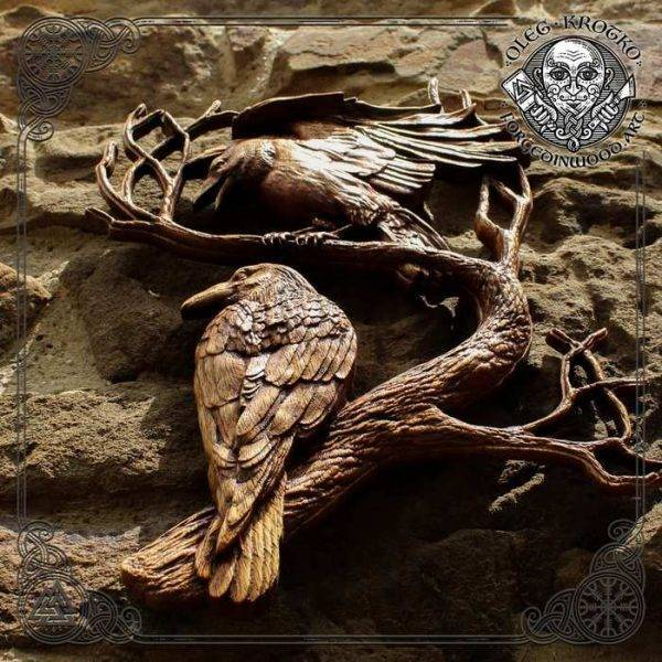 Norse Mythology ravens wood carving