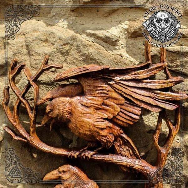 Norse Mythology odin ravens wood carving