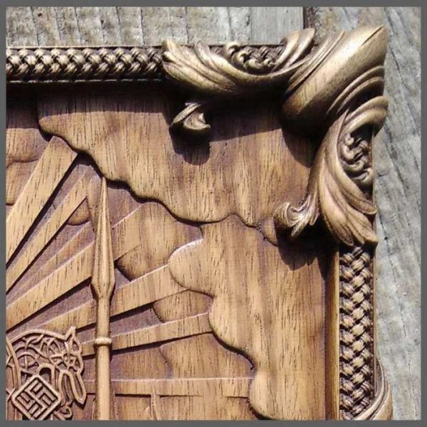 Odin and Valkyries Vikings carving art