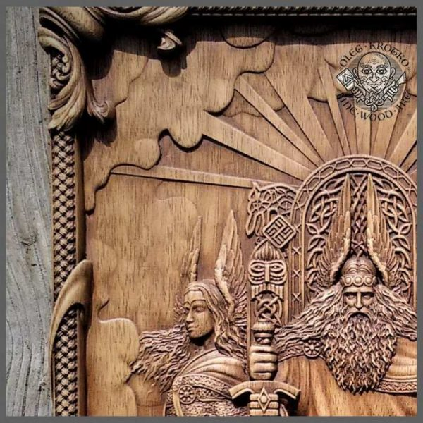 Odin and Valkyries wood carving art