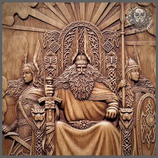 Odin and Valkyries Vikings carvings