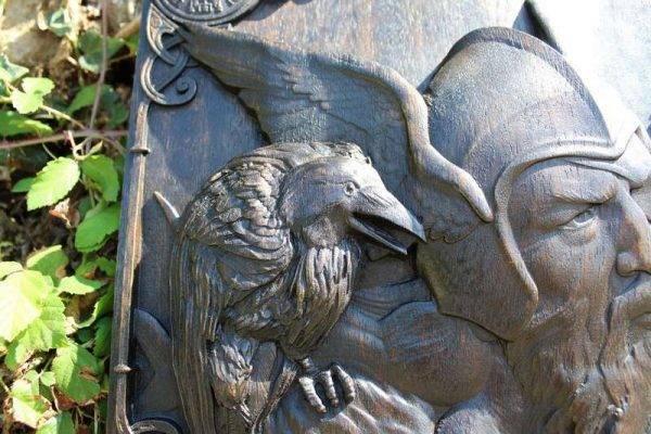 Odin Ravens Viking Mythology wood carved