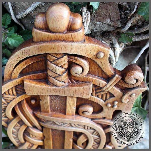 Odin Sword wood Carving