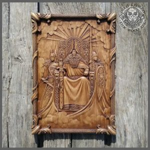 odin valkyries vikings wood carving