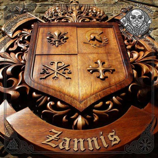 Personalized Family Heraldic Symbols wood carving