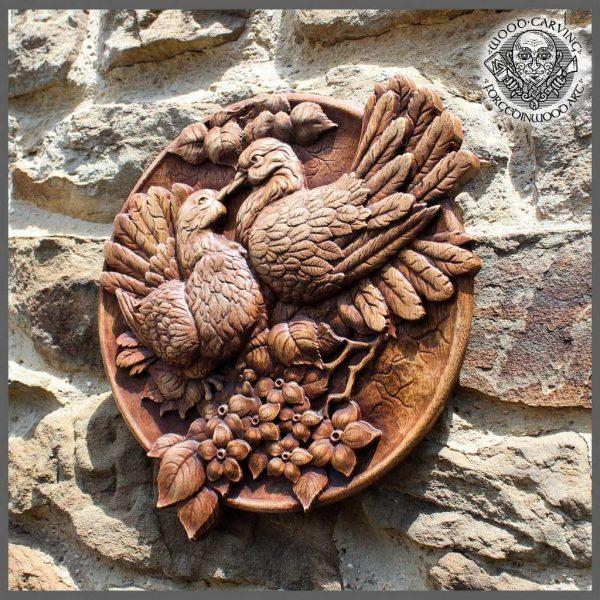 Pigeons Bird wood art wall