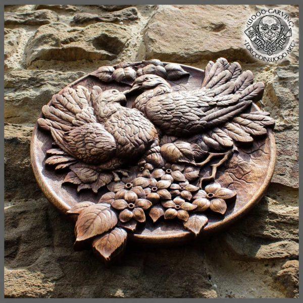 wooden plaque Pigeons Bird