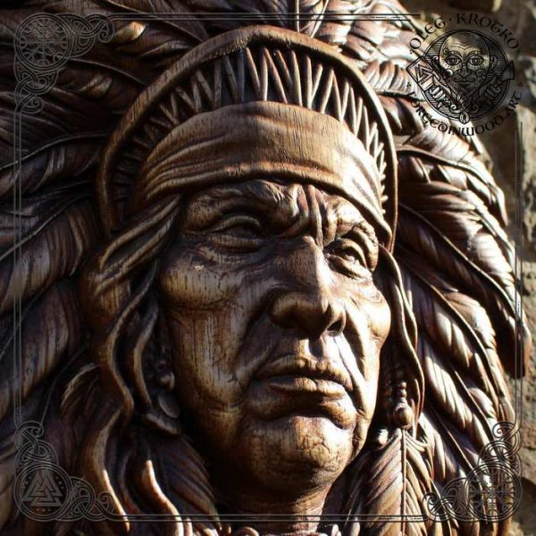 WOOD CARVED PICTURE Native American