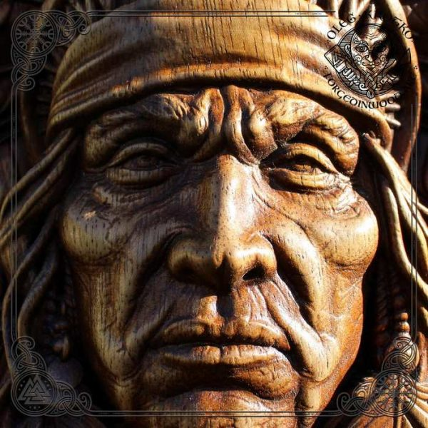 Portrait of Native American Indian wood carved