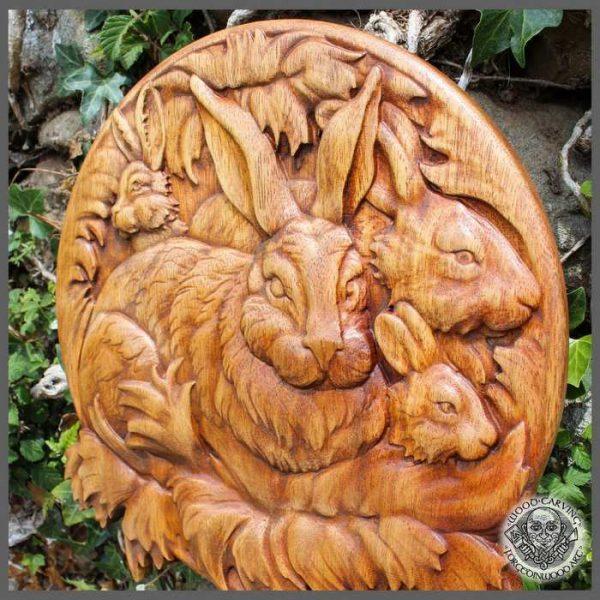 Rabbit wood carving