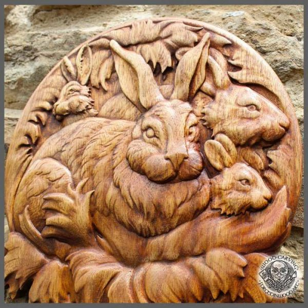 Rabbit Wood Carving Picture