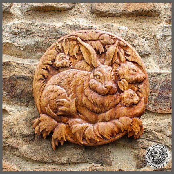 rabbit wooden picture