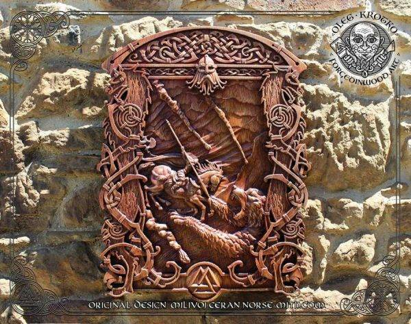 Ragnarok luxury wood carving picture