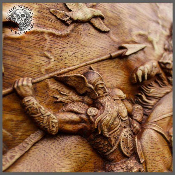 Ragnarok norse mythology carvings wall art
