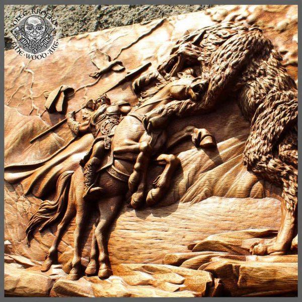 Nordic mythology carvings