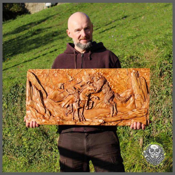 ragnarok norse wood carving viking