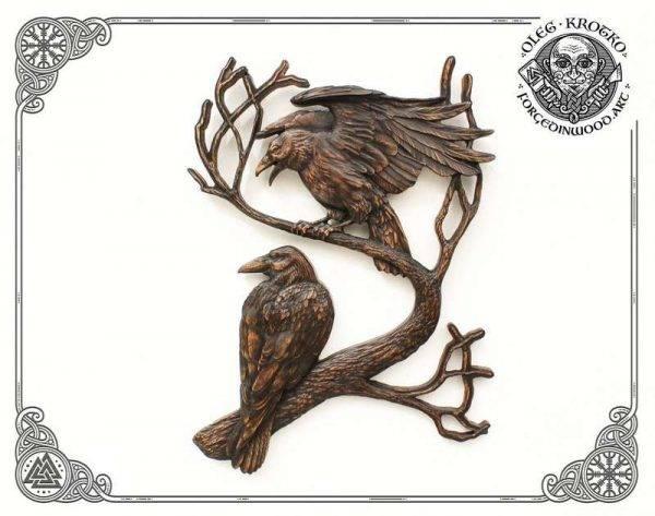 Ravens of Odin Huginn and Muninn wood carvings