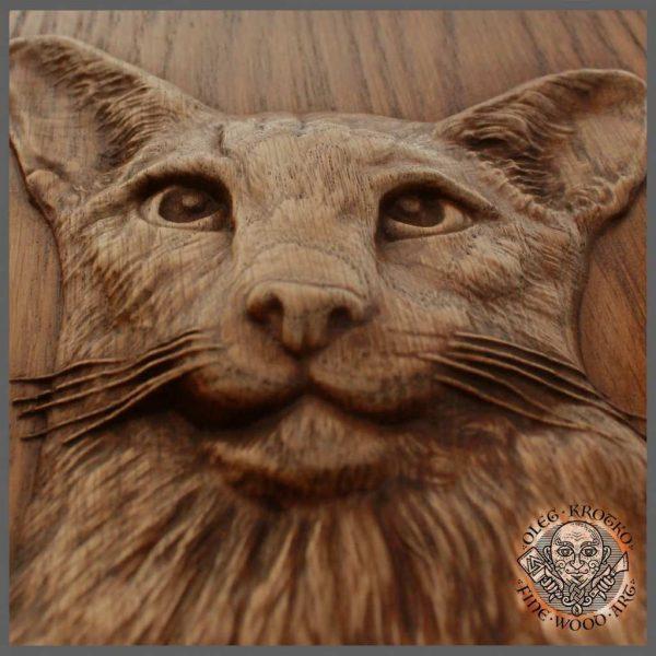 Realistic Custom cat wood carving art