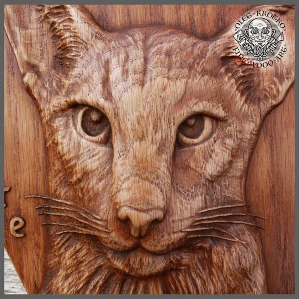Cat Carving Wood Picture Wall Home