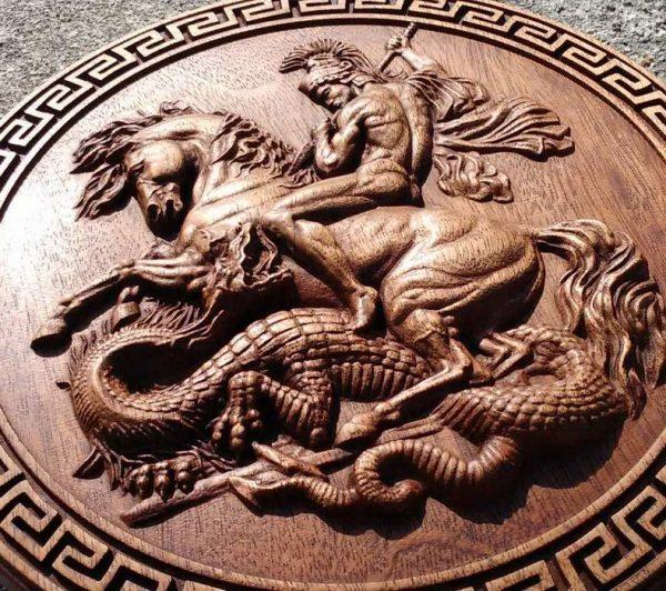 Saint George dragon carvings